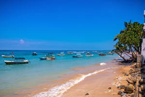 Photo Sri Lanka Coast Sea Boats Beaches Galle