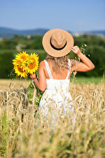 Images Helianthus Fields Bouquets Back view Frock Hands Hat Selina young woman Flowers