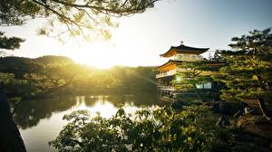 Wallpapers Sunrises and sunsets Parks Temples Kyoto Japan Kinkaku-JI Cities