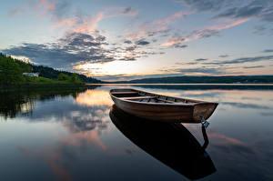 Bilder Schweden See Morgen Boot