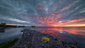 Image Sweden Lake Sunrises and sunsets Clouds