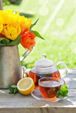 Bilder Tee Wasserkessel Zitrone Tulpen Tasse