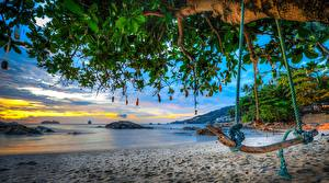 Papel de Parede Desktop Tailândia Mar Praia árvores Baloiço HDRI Galho Phuket, Andaman Sea