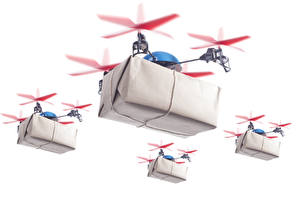 Picture UAV Quadcopter Flight Box White background Aviation