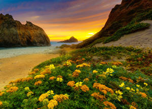 Photo USA Coast Evening Sunrises and sunsets California Crag HDR Nature