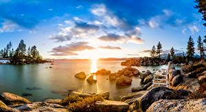 Pictures USA Lake Stones Sunrise and sunset Trees Clouds Bench Lake Tahoe