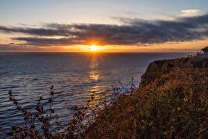 Bilder USA Sonnenaufgänge und Sonnenuntergänge Kalifornien Bucht Felsen Sonne Natur