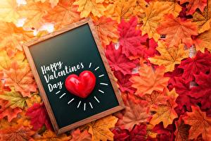 Images Valentine's Day Autumn Heart Acer Leaf English Text