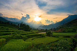 Pictures Vietnam Mountains Evening Sunrise and sunset Fields Clouds Sapa Nature