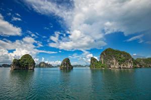 Hintergrundbilder Vietnam Meer Himmel Felsen Wolke Bucht Ha Long Bay Natur