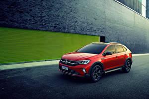 Bakgrundsbilder på skrivbordet Volkswagen Röd 2020 Nivus 200 TSI Latam Bilar
