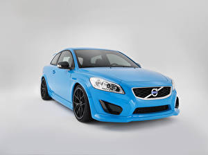 Wallpapers Volvo Light Blue Metallic Gray background C30 Polestar Performance, 2010 Cars