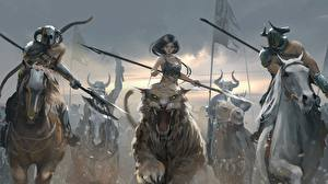 Pictures Warriors Horse Magical animals Running Spear Girls