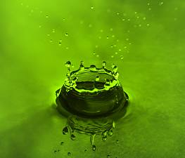 Images Water Drops Water splash Green