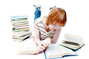 Image White background Books Female students Redhead girl Reading