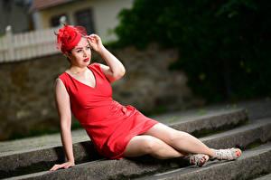 Bilder Sitzt Kleid Rot Bein Der Hut Unscharfer Hintergrund Yasmin, veil Mädchens