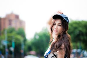 Wallpaper Asian Bokeh Brown haired Baseball cap Glance Smile female