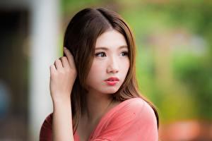 Fotos & Bilder Asiatische Bokeh Braunhaarige Blick Hand Mädchens