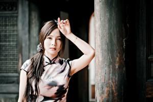 Bilder Asiaten Bokeh Hand Brünette Starren Mädchens