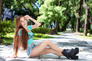 Wallpaper Asian Brown haired Sitting Smile Shorts Hands Legs Boots young woman