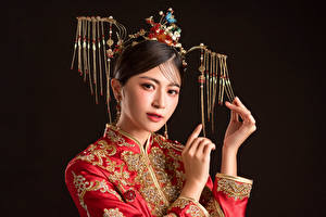 Image Asian Jewelry Glance Hands Makeup Black background young woman