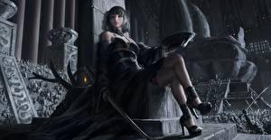 Bilder Asiaten Katana Krieger Sitzen Thron Bein Schwert High Heels Schöne GUWEIZ art, Z.W. Gu Fantasy Mädchens