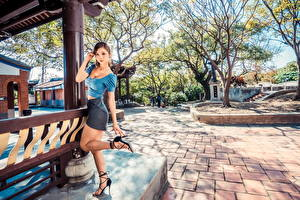 Pictures Asian Posing Legs Skirt Blouse Glance