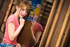 Fotos Asiaten Spiegelt Braunhaarige Blick Hand Bokeh