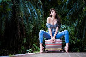 Fonds d'écran Asiatique Valise S'asseyant Jeans Chemisier Décolleté Regard fixé La pose jeunes femmes