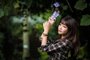 Papel de Parede Desktop Asiático Relógio de pulso Fundo desfocado Castanhos Mão Ver Meninas