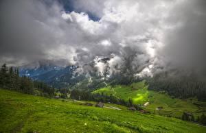 Bureaubladachtergronden Oostenrijk Bergen Grasland Vallei Wolken Tyrol, Zillertal