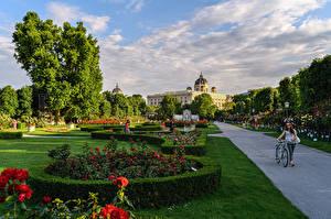 Papel de Parede Desktop Áustria Viena Parques Relvado Arbusto Design árvores Revérbero BlumenPark Naturaleza