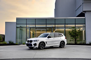 Wallpapers BMW Crossover White Metallic 2020 X3 M Competition Cars