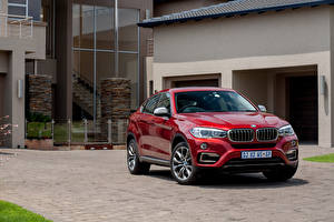 Bilder BMW Rot Vorne Metallisch Turnschuh Sports Activity Coupe, X6 automobil