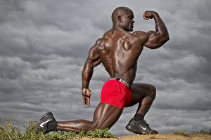 Photo Bodybuilding Man Negroid Posing Shorts Human back Muscle Sport