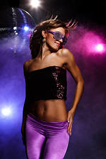 Image Brown haired Dancing Glasses Belly Hands Glamour young woman