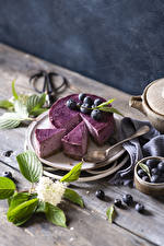 Wallpaper Torte Blueberries Boards Piece Branches Spoon Food