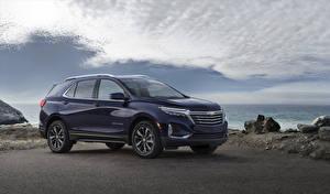 Hintergrundbilder Chevrolet Blau Metallisch 2021 Equinox Premier automobil