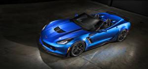 Desktop hintergrundbilder Chevrolet Cabriolet Blau  Autos