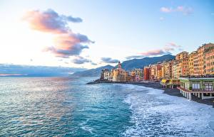Wallpaper Coast Houses Sea Italy Liguria Camogli Cities