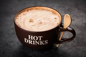 Bureaubladachtergronden Koffie Cappuccino Close-up Mok Beker Voedsel