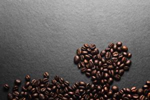 Desktop hintergrundbilder Kaffee Getreide Herz Grauer Hintergrund Vorlage Grußkarte das Essen