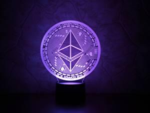 Fonds d'écran Pièce de monnaie En gros plan Violet ethereum, eth