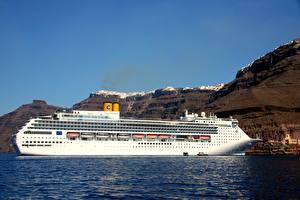 Papel de Parede Desktop Cruzeiro Mar Grécia Lateralmente Branco Costa Victoria, Santorini