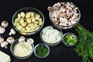 Pictures Dill Mushrooms Potato Onion Scallion Bowl Food