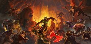 Bakgrunnsbilder Doom Monstrum Slag Eternal, DoomGuy