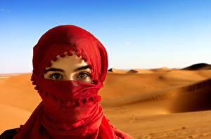 Bilder Augen Blick Sand Hidschab  Mädchens