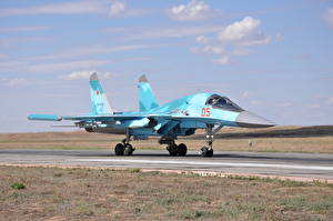 Picture Fighter Airplane Airplane Sukhoi Su-34 Russian