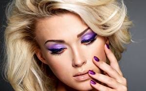 Wallpaper Fingers Closeup Face Blonde girl Manicure Makeup Girls