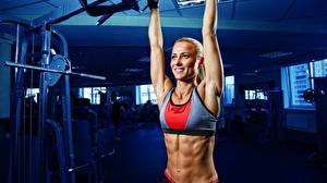Picture Fitness Glance Smile Blonde girl Blurred background Belly Hands female